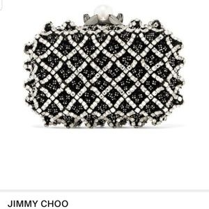 JIMMY CHOO SATIN WITH CRYSTAL BEAD EMBROIDERY,BLAC